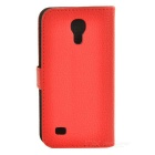 Lichee Pattern Protective Flip-Open PU Leather Case for Samsung Galaxy S4 Mini i9190 - Red