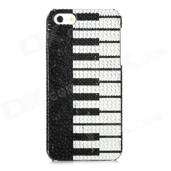 Piano Keyboard Pattern Protective PVC Back Case w/ Rhinestones for Iphone 5 - Black + White protective soft pvc back case for htc sensation xl x315e g21 black