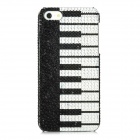 Piano Keyboard Pattern Protective PVC Back Case w/ Rhinestones for Iphone 5 - Black + White