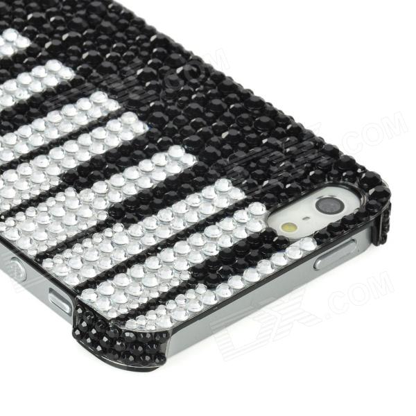 piano keyboard pattern protective pvc back case w rhinestones for iphone 5 black white. Black Bedroom Furniture Sets. Home Design Ideas