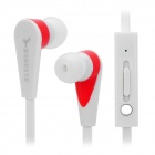BSBESTE BSB-168I Stylish Universal In-ear Type Stereo Earphone e/ Microphone Headset - White + Red