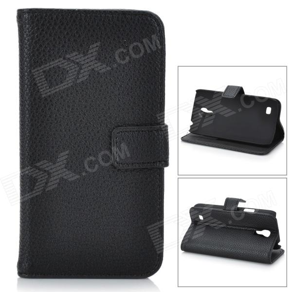 Lichee Pattern Protective Flip-Open PU Leather Case for Samsung Galaxy S4 Mini i9190 - Black