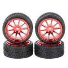 1: 10 On-Road Flat Run R/C Car Soft Tires - Black + Red (4 PCS)