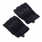 Stylish Tactical Protective PU Gloves -Black (Size M / Pair)