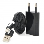 AC Charger + USB to 8-Pin Lightning Data/Charging Flat Cable for iPhone 5 - Black (EU Plug)