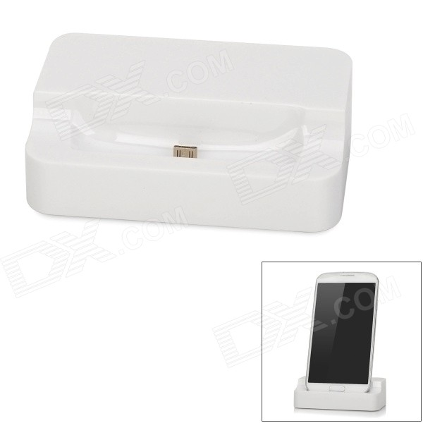 Mini Data Transfer & Charging Dock Station  for Samsung i9500 / i9190 / i8190 - White usb charging dock station for samsung galaxy s4 mini i9190 black us plug