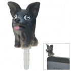 Mini Dog Style Audio Jack Anti-Staub-Stecker für iPhone / Handy - Schwarz (3,5 mm Klinkenstecker)