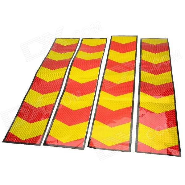 Arrows Symbol Car Reflective Warning Mask Sticker - Red + Yellow (4 PCS)
