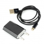AC Charger + USB to 8-Pin Lightning Gold Plated Cable for iPhone 5 - Black (EU Plug)