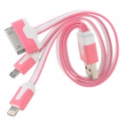 USB to 8-Pin Lightning / 30-Pin / Micro USB Flat Charging Cable for iPhone 5 / 4 / Cell Phone - Pink
