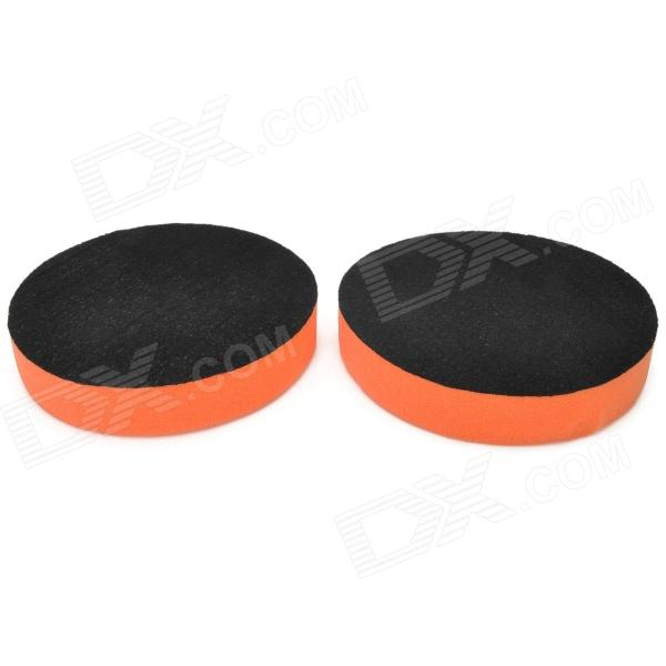 5 Self Adhesive Wax Polishing Sponge Pad - Orange + Black (2 PCS)