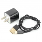 Gold Plated USB to 8-Pin Lightning Charging Cable + AC Power Adapter Set for iPhone 5 - Black