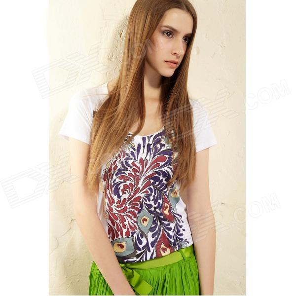 Feather Pattern Stylish Pure Cotton Short Sleeve Women's T-Shirt - White (Size L)