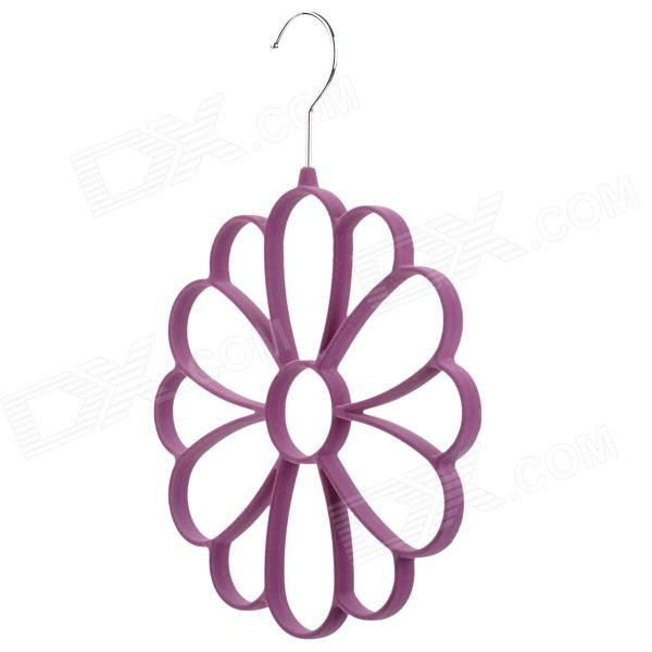 Petal Style Multifunction Stainless + Woolen Cloth + Resin Scarf Storage Hanger - Purple + Silver от DX.com INT
