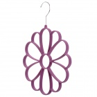 Petal Style Multifunction Stainless + Woolen Cloth + Resin Scarf Storage Hanger - Purple + Silver
