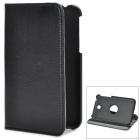 Lychee Pattern Rotary Sheepskin Case w/ Stand for Samsung Galaxy Tab 3 P3200 / P3210 - Black