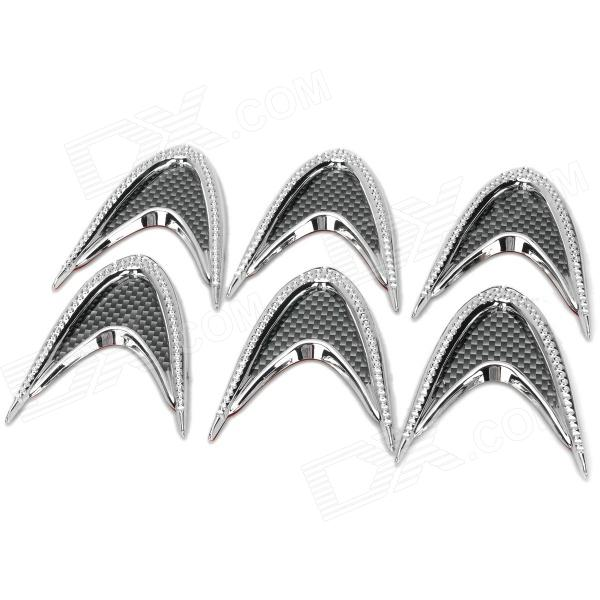 YI-229 DIY Plastic Car Decorative Stickers - Silver + Grey (6 PCS) jtron flame pattern motorcycles diy decorative stickers silver 4 pcs