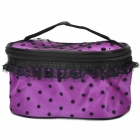 Fashionable Polkha Dot Pattern Dacron Makeup Bag with Mirror - Purple