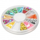 DIY 3D Heart Style Nail Art / Decoration Plastic Sticker Set Case - 12 Colors
