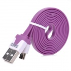 PZCD PZ-35 USB to Micro USB Sync Data Flat Cable for Samsung / HTC / Xiaomi + More - Purple + White