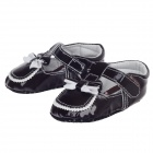 Cute Bowknot PU Velcro Baby Shoes - Dark Brown + White (3~6 Months / Pair)