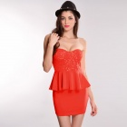 LC2788-1 Stylish Sexy Sequin Peplum High Waist Dress for Women-  Red orange  (Size L)