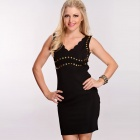 LC2793-2 Sexy Sweet Style Studded Decor V-Neck Scallop Trim Dress for Women - Black (Size-L)