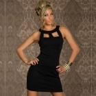 LC2804-2 Stylish Sexy Chest Hollow-out Crew Neck Sleeveless Women's OL Dress -Black (Size-L)