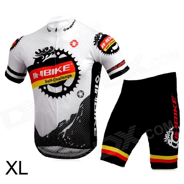 INBIKE Bicycle Cycling Short Sleeves Jersey + Shorts Set - White + Black (Size XL) rusuoo k01007 bicycle cycling jersey bib shorts set white black size xxl 180 185cm