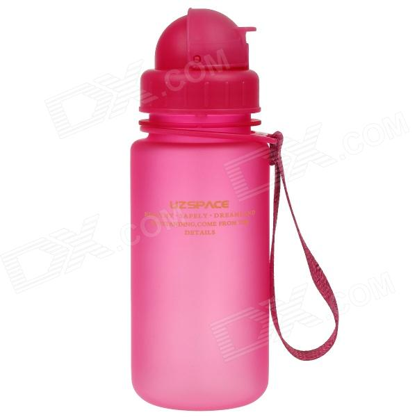 UZSPACE High-Quality Leak-Proof Frosted Colorful Bottle w/ Straw- Deep Pink (400mL)