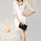 Fashionable Women's Slim Lace Mid-Length Sleeve Wave Edge Dress - White (Size L)