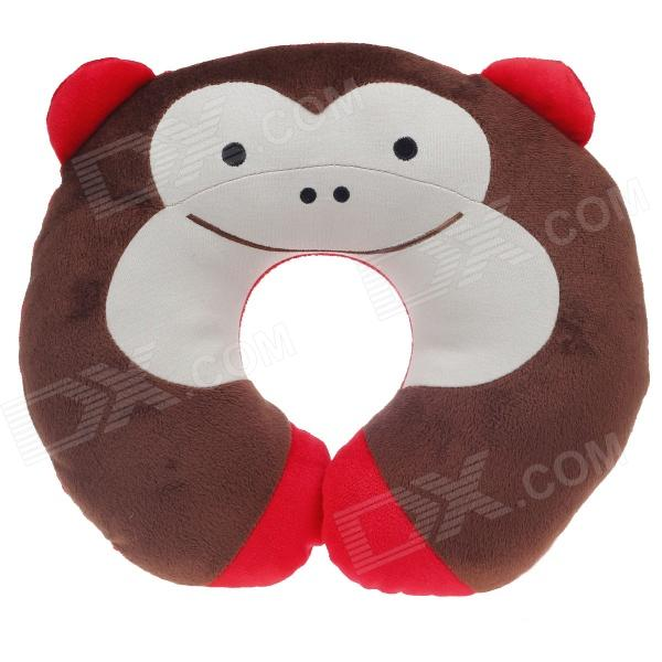 Cute Monkey Style U Type Neck Pillow - Brown + Red + Ivory neck support nap pillow