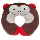 Cute Monkey Style U Type Neck Pillow - Brown + Red + Ivory