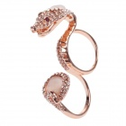 Stylish Shiny Snake Style Zinc Alloy + Rhinestone + Opal Double Ring - Rose Gold