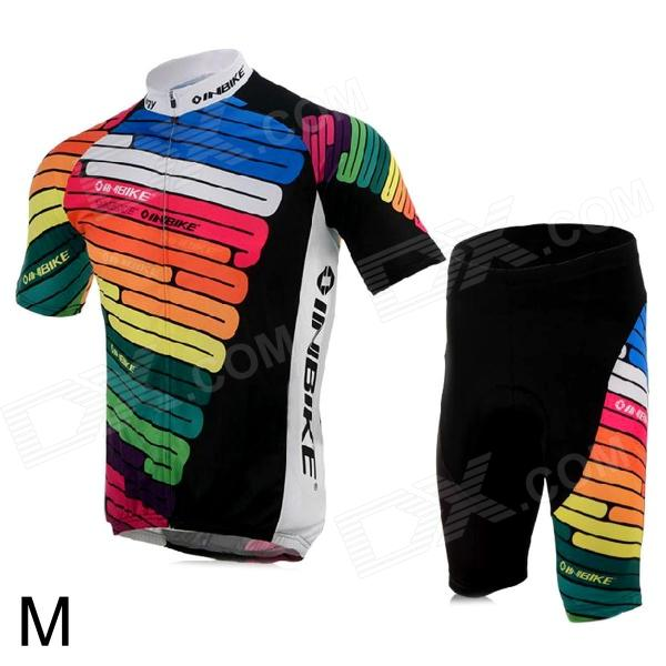 INBIKE IA360 Bicycle Cycling Short Sleeves Jersey + Shorts Set - Multicolored (Size M) inbike bicycle cycling short sleeves jersey bib shorts set white black size xxl