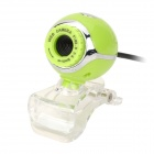 USB 2.0 1.3MP Clip Web Camera w/ Microphone - Green + Silver