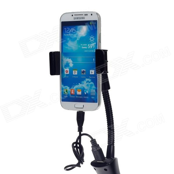 THFC008 Multifunctional Spring Car Holder Bracket + Single USB Car Charger for Smartphone - Black