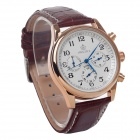 ORKINA P0033 Men's Quartz Watch + Arabic Numeral + Six Stitch Stopwatch - Brown + Golden (1 x LR626)