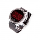 LUWEITE 8006 Fashionable Stainless Steel Dial LED Digital Men's Wrist Watch - Black (1 x CR2032)