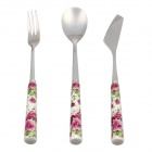 Delicate Stainless Steel Spoon + Knife + Fork Tableware Set - White + Green + Purple (3 PCS)