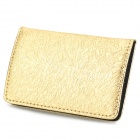 Elegant Stainless Steel + PU Leather Business Card Storage Case - Golden
