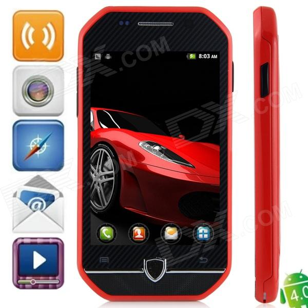 "F599 Android 4.0.3 GSM Bar Phone w / ""kapasitiv skjerm, Quad-Band og Wi-Fi 3.5 - Svart + Red"