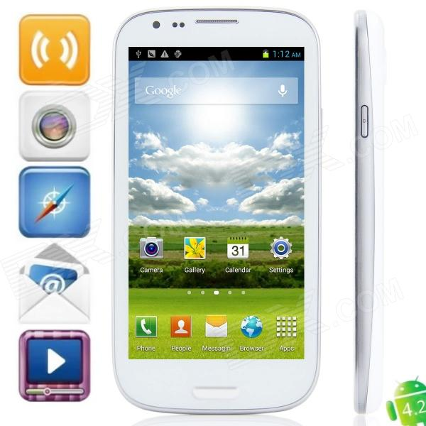 Haipai i9389 MTK6589 Quad-Core Android 4.2.1 WCDMA Bar Phone w/ 4.7″, Wi-Fi, FM, GPS – White