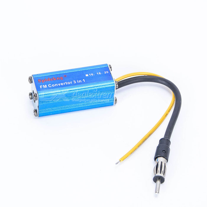Aluminum Alloy 16MHz Car FM Impedance Convertor - Blue (12V)