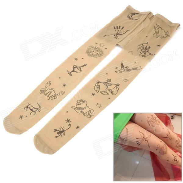 Printing Constellation Pattern Pantyhose Stockings for Women - Flesh-colored