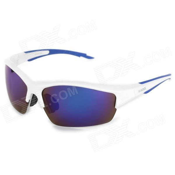 V-KOOL 7051 Outdoor Cycling Polarized UV400 Protection Sunglasses - White + Blue