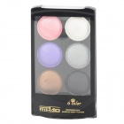 Water Resistant 6-Color Cosmetic Shimmer Eyeshadow Set - Black