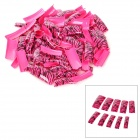 Stripe Pattern Decorative Art Nail Tips - Black + Deep Pink (100 PCS)
