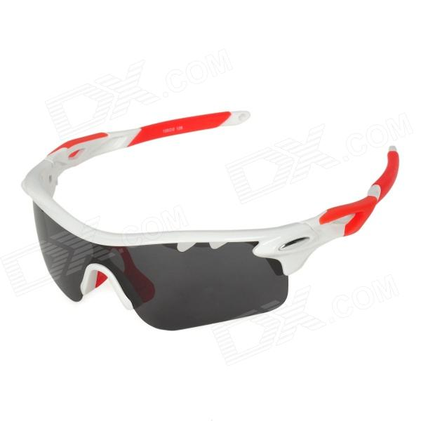 CARSHIRO T9559 Cycling UV400 Protection Polarized Sunglasses w/ Replaceable Lens - White + Red topcycling pc frame tr90 lens cycling polarized sunglasses black