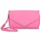 M520 Stylish PU Leather Clutch Purse w/ Card Slots / Zipper Pocket for Samsung / Iphone - Deep Pink